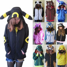 2017 Kawaii Anime Animal Pikachu Zip Hoody Jacket Hoodie With Ears Polar Fleece