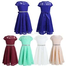 Girls Kids Princess Lace Dress Pageant Wedding Birthday Bridesmaid Formal Party