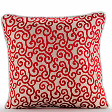 Red Burnout Velvet 45x45 cm Red Scroll Cushions Cover - Cayenne Red Scrolls