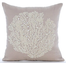 Beige Cotton Linen 35x35 cm Beaded Sea Weeds Cushions Cover - Pearl Weeds