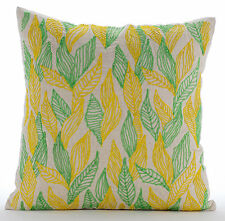 Leaves Change - Green Cotton Linen 45x45 cm Throw Cushion Cover
