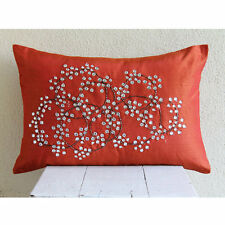 Crystals 30x50 cm Art Silk Rust Lumbar Cushion Cover - Rusty Crystal Circles