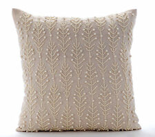 Beige Pearls Leaf & Flowers 55x55 cm Cotton Linen Cushions Cover - Pearl Essence