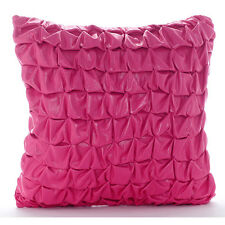 Pink Faux Leather 65x65 cm Metallic Knotted Euro Cushion Shams - Pink Panther