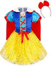 Kids Snow White Princess Cosplay Costume Halloween Fairytale Party Dress&Cape