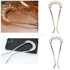 Faux Pearl Rhinestone Hair Stick Pick Pin Clip Wedding Fancy Jewelry Hair Clips