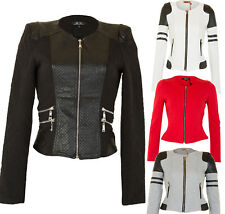 NEW WOMEN LEATHER BIKER JACKET QUILTED PANEL White Black Red Coat Size 6-14
