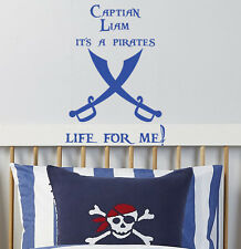 Children Pirate Swords Captain Wall Sticker Quotes Kids Nursery Wall Art Decals