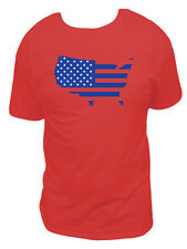 American Flag In The Shape Of America T-shirt, Blue Design Mens