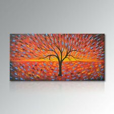 Hand Painted Tree Oil Painting Starry Night Canvas Art Abstract Landscape Framed