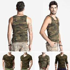 Outdoor Mens Army Camo Military Sports T-Shirt Forest Hunting Shooting Gym TOPS