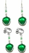 BRIGHT GREEN JINGLE BELL CHRISTMAS PIERCED or CLIP ON DANGLE EARRINGS (H208)