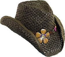 Dorfman Pacific Women's Crocheted Toyo Western Cowgirl Hat with Flower