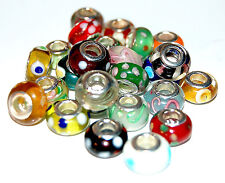 925 Sterling Silver Core Murano Glass Bracelet Charm Bead Buyers Choice (Lot #1)