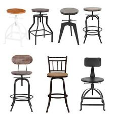 IKayaa Industrial Vintage Bar Stool WITH Backrest OR Footrest Top N1M4