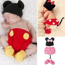 Cute Newborn Girl Baby Minnie Mouse Crochet Knit Costume Photo Props Outfits