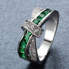 Women Cross Rings Fashion Silver Crystal Filled Jewelry Wedding Finger Ring Band