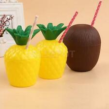 Tropical Fruit Pineapple Coconut Drink Cup with Straw Hawaiian Luau Party Decor