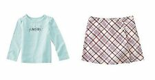 NWT GIRL GYMBOREE WINTER SNOWFLAKE PLAID SKIRT ANGEL TEE TOP OUTFIT SET 4 4T NEW