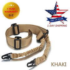Adjustable Tactical 2 Two Point Rifle Gun Sling Dual Bungee Strap Snap Hook USA