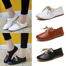Women Ladies Lace Up Ballerina Flats PU Leather Light Soft Work Pumps Shoes Size