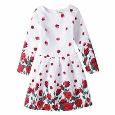 Autumn Long Sleeve Flower Pattern Casual Style Knee-length Dress for Girl