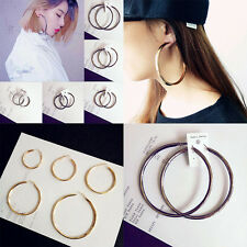 Gold Plated Twisted  Sexy Oversized  Earrings for Women Circle Round Loop Hoop