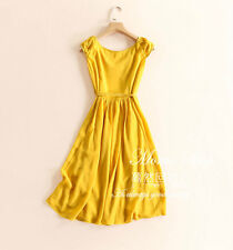 summer pleated Draw string show thin Silk linen dress Pure color vest skirt girl
