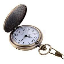 Vintage Steampunk Retro Bronze Design Quartz Pocket Watch Pendant Chain Gift