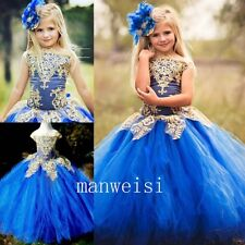 Royal Blue Flower Girl Dress Pageant Sleeveless Summer Applique Ball Gown Custom