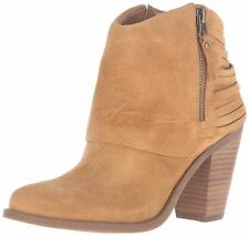 Jessica Simpson Cerrina Ankle Bootie Honey Brown Suede Stacked Heel Ankle Boots
