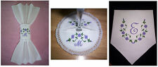 Coaster Wine Glasses Napkin Ring OR Regular Napkin EMBROIDERY DESIGNS Flower