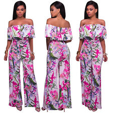 Sexy Womens off shoulder boat neck slim wide leg floral print clubwear jumpsuit