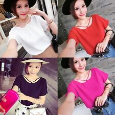 Women Short Sleeve Chiffon Blouse Tops Crew Neck Casual Loose T-shirts Tops Nice