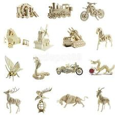 Wooden Craft 3D Puzzle Jigsaw Building Model Kit Kids Toy Gift Animal / Vehicle