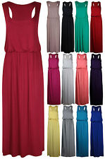 LADIES MAXI DRESS WOMENS JERSEY PUFFBALL BALLOON TOGA RACER BACK VEST LONG DRESS