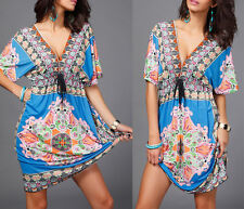 Sexy Women Plus Size V-Neck Milk Silk Bohemian Print Short Sleeve Beach Dress