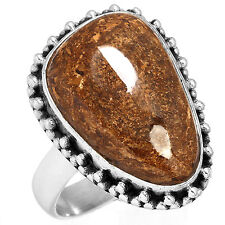 Solid 925 Sterling Silver Jewelry Natural Bronzite Gemstone Ring Size 8 Iz64036