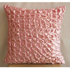 Knotted Pintucks Pink Velvet 35x35 cm Cushion Covers - Soft Pink Snow