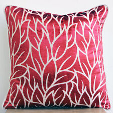 Red Burnout Velvet 50x50 cm Leaf Design Throw Cushion Cover - Cayenne Red Leaves