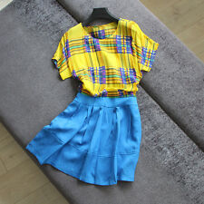 2017 spring summer Fake two piece grid Plaid short sleeved Silk linen dress