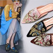 Womens Pointed Toe Embroidery Flat Leather Sanndal Shoes Outdoor Floral Slippers