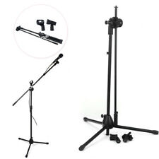 Adjustable Microphone Stand Mic Holder Tripod Two Clip Telescopic Boom + shield