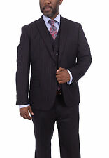 Steven Land Classic Fit Blue With Red Pinstripe Three Piece Super 150s Wool Suit