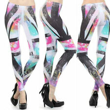 Leggings S M L Galaxy Star British Flag Neon Colorful Stretch Full Length New