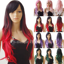 Ombre Long Colorful Cosplay Wigs with Bangs Curly Wavy Anime Party Wig Women #03