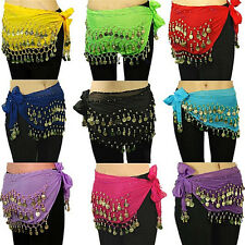 Belly Dance Gold Coin 3 Rows Belt Hip Scarf Skirt Wrap Chain Dancing Costume  RG