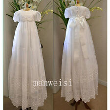Lace Infant Baptism First Communion Dresses Christening Gown Custom Short Sleeve