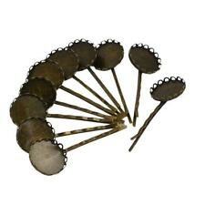 10 Pieces Antique Copper Hair Clip Bobby Pin Filigree Flower Tray DIY Findings