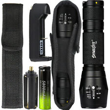 8000LM XML T6 Zoomable Tactical LED Flashlight Torch Lamp 18650 Battery Charger